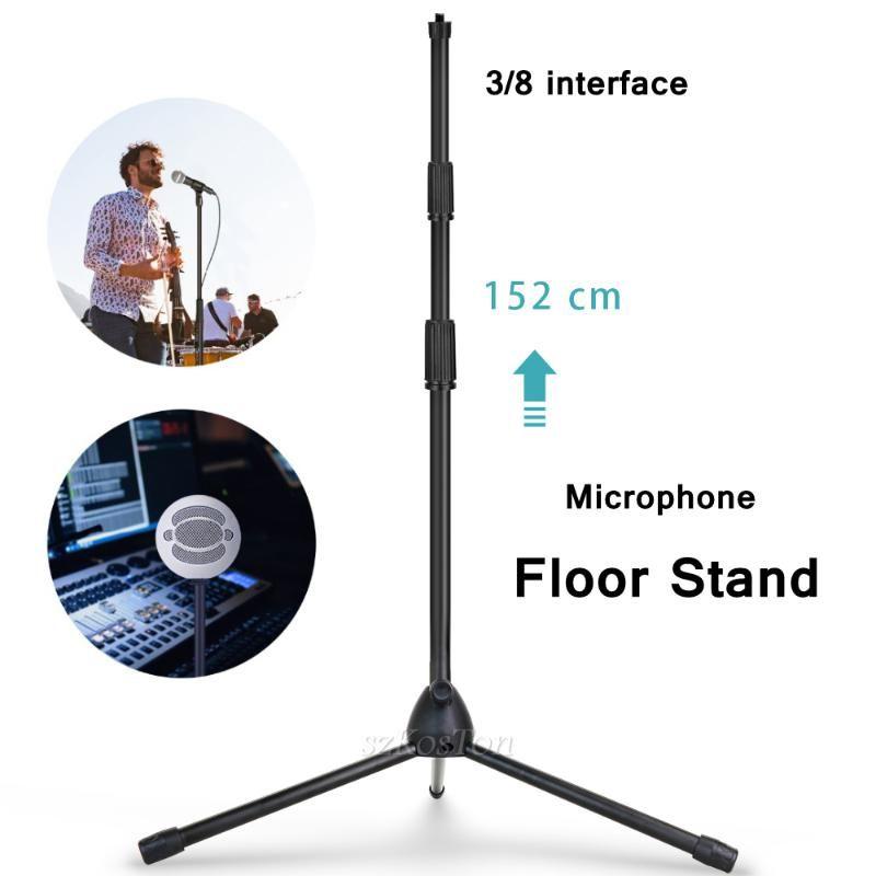 3/8 Interface Microphone Portable Stand Réglable Porte-bras Métal Trépied Stape Stage Enregistrement Studio Microphones