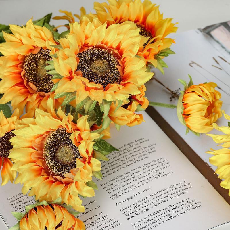 عباد الشمس زهرة النباتات الاصطناعية بونساي الزفاف الديكور ins الرياح طاولة المنزل الديكورات الزخرفية الزهور