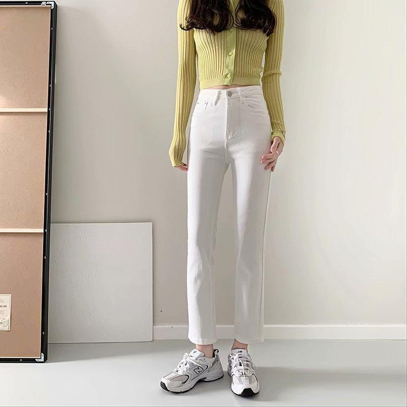 2021 primavera verão chique moda calças jeans vintage sólido cintura alta skinny jeans mulher coreano todos combinam calças de tornozelo feminino