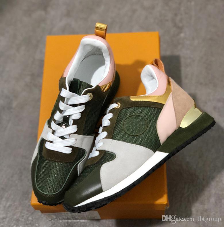2021 weglaufen Frauen Designer Sneakers Luxus Leder Freizeitschuhe Männer Schuhe Echtes Leder Mode Mischfarbe Original Box