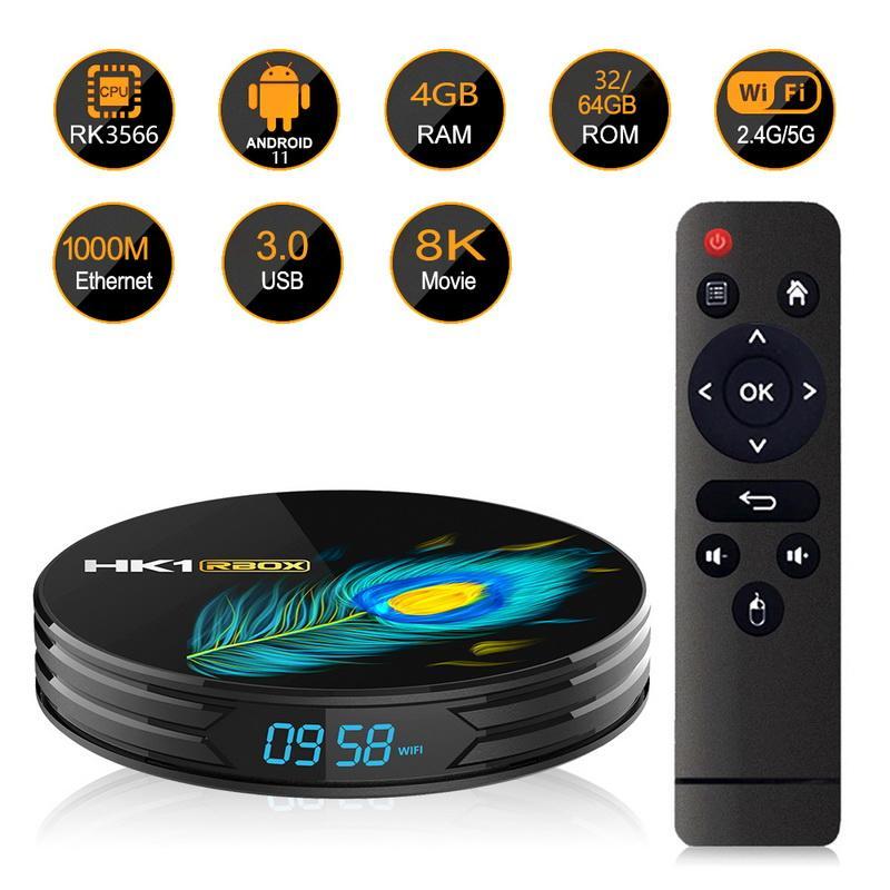 HK1 R3 Smart TV Box Android 11 4GB DDR4 4K Dualband WiFi 1080P RK3566 رباعية النواة HK1RBOX Media Player Set Top-Box