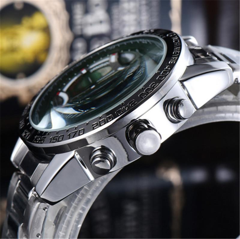 럭셔리 쿼츠 망 시계 블루 천사 세계 크로노 그래프 남성 손목 시계 캐주얼 스테인레스 스틸 시계