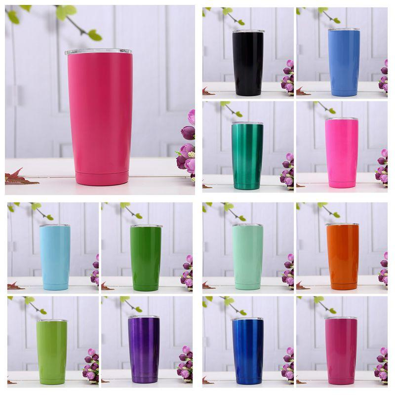20oz colorido xícaras de café de aço inoxidável canecas grande capacidade dupla camada garrafa de água de água canecas com copos de carros CCA11609 20 pcs