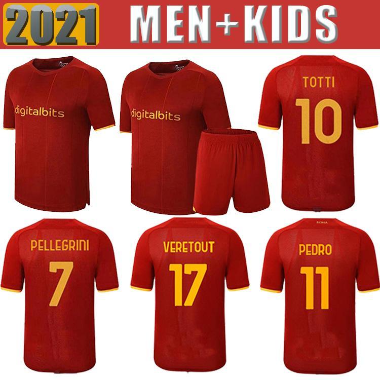 Top Soccer Jersey Abraham Zaniolo Roma Pastore Roma Totti Kluivert Kolarov come 21 22 Camicia da calcio 2021 2022 Men + Kid Kit Uniformi Maillot