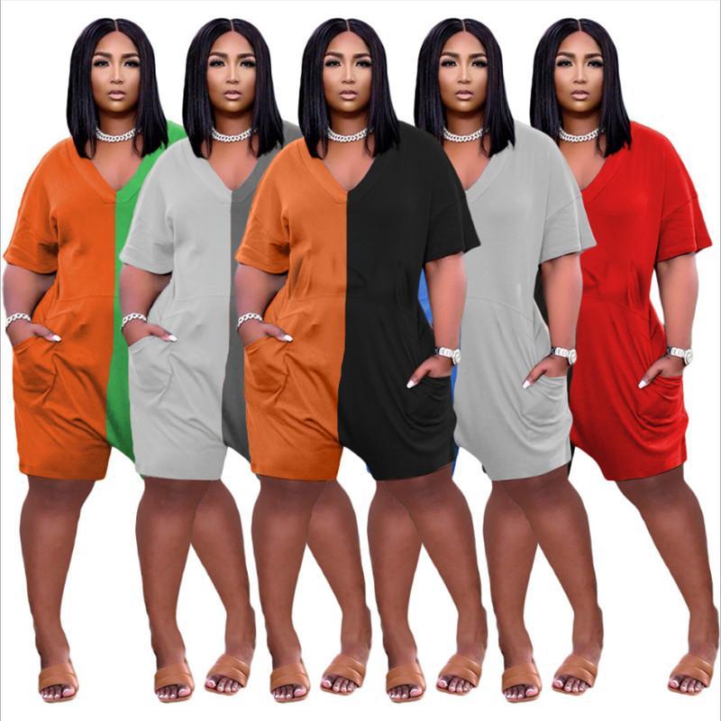 Большие размеры женщин комбинезон двух цветов лоскутное лето мода V-образным вырезом с короткими рукавами свободно казуаропротечные