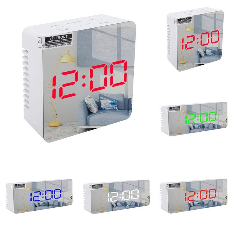 2021 Özelleştirilmiş Çok Fonksiyonlu LED Masa Saatleri Makyaj Pil Plug-in Çift Amaçlı Ayna Sıcaklık Ekran Tek Başucu Yaratıcılık Saati