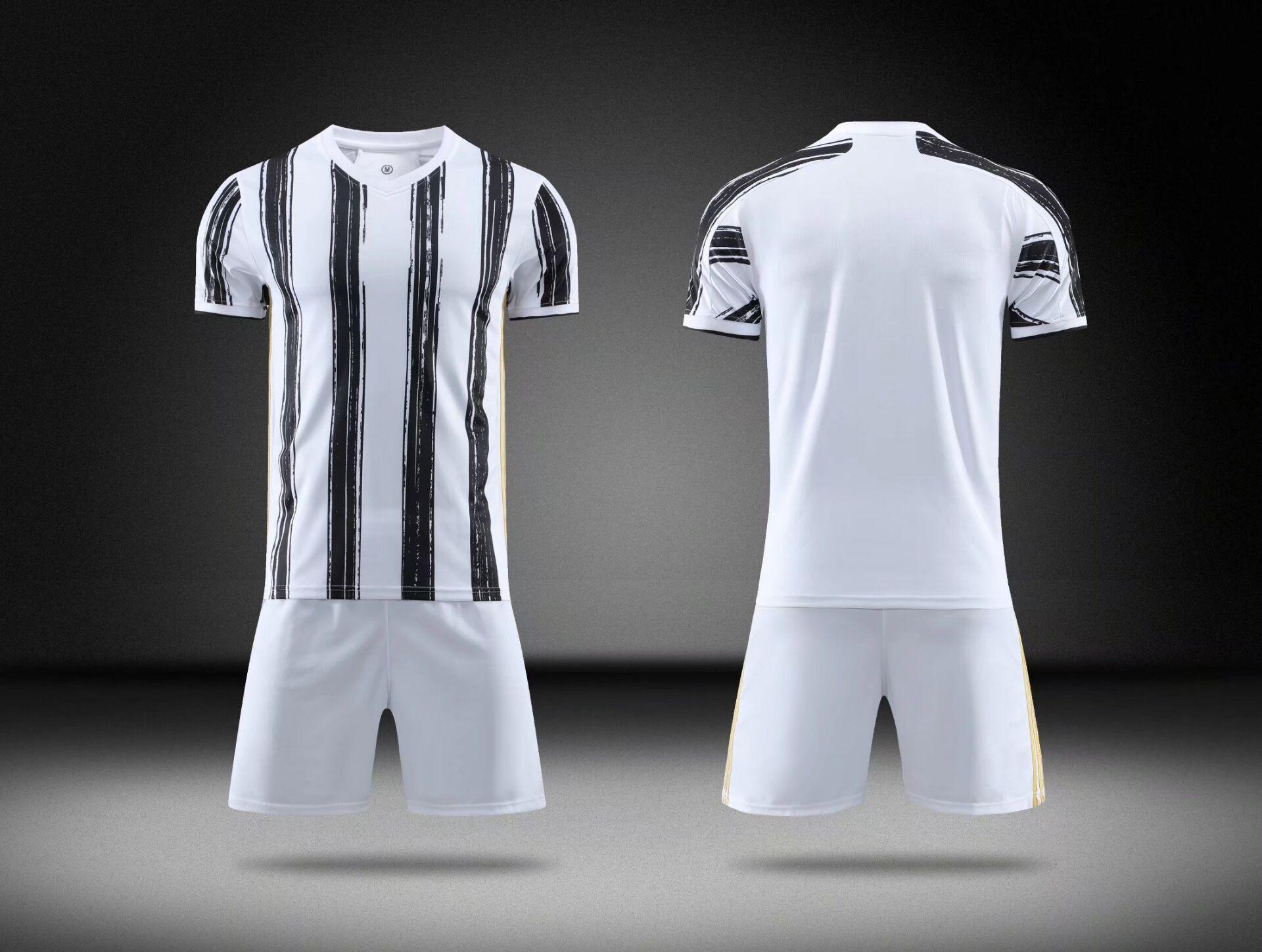 클럽 팀 남자 축구 유니폼 세트 2021 여름 팬들 소년 축구 일반 정장 성인용 광택 셔츠 키트 부드러운 접시 편안한 남자의 느슨한 통기성 셔츠
