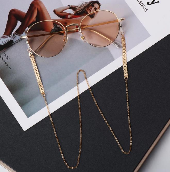Mulheres Moda Pérolas de Ouro Óculos de Óculos de Sol Óculos de Sol Colar Acessórios Retentor de Eyewear