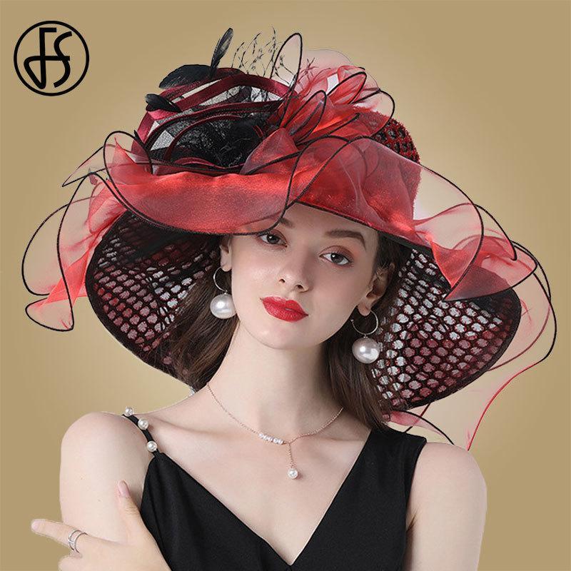 FS النساء الأورجانزا الحمراء القبعات الزفاف الفراش أنيقة كبيرة واسعة بريم فيدورا كنتاكي ديربي القبعات حزب الكنيسة الرسمية السيدات قبعة 210323