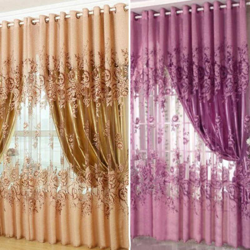 Curtains White/Navy Blue Curtain String Door Curtain Line Flash Shiny Viole Sheer Window Tassel Screening for Living Room 210712