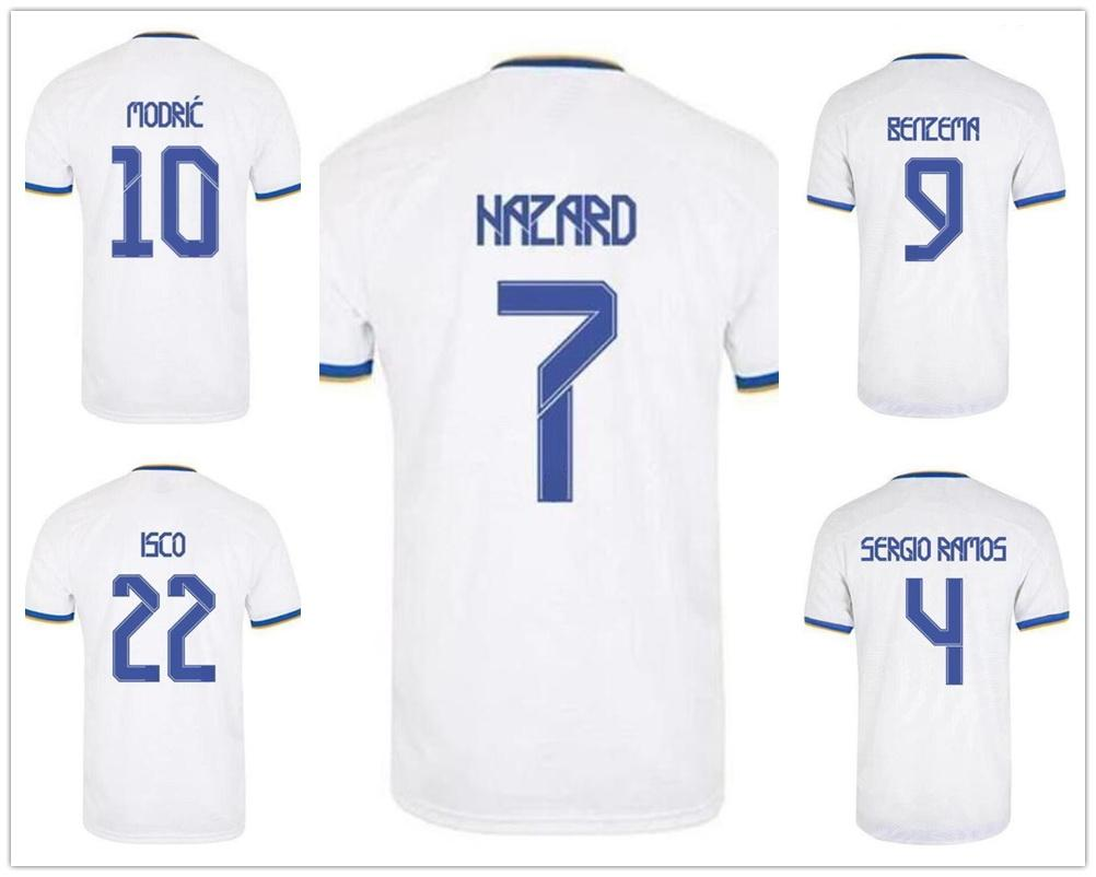 Anpassad 21-22 7 Risk Thai Kvalitet Soccer Jerseys 9 Benzema 8 Kroos 22 Isco Nacho 6 Anpassad 11 Bale Yakuda Sports Jerseys Rabatt Billiga