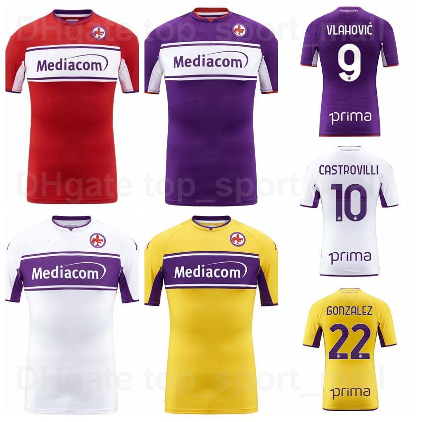 2021 2022 Fiorentina 축구 유니폼 9 Vlahovic 10 Castrovilli 3 Biraghi 4 Milenkovic 22 Gonzalez 15 Pulgar 5 Bonaventura 33 Sottil 11 Kouame 축구 셔츠 키트