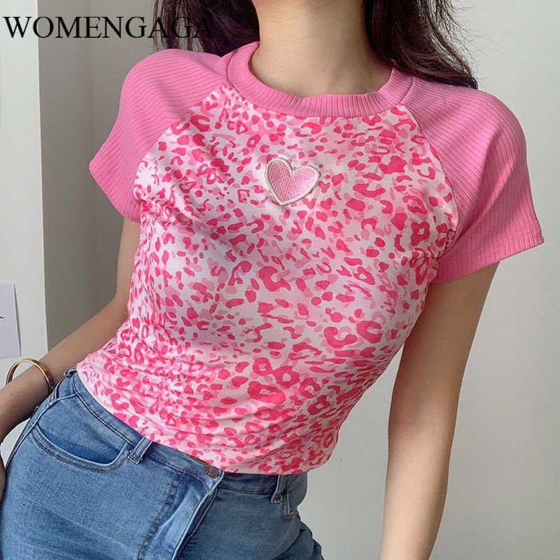 Womengaga Summer Damen Rosa Gestickte Leopard Drucken Kurzhülse Slim Nabel T-Shirt Für Mädchen Tops 0LPF 210603
