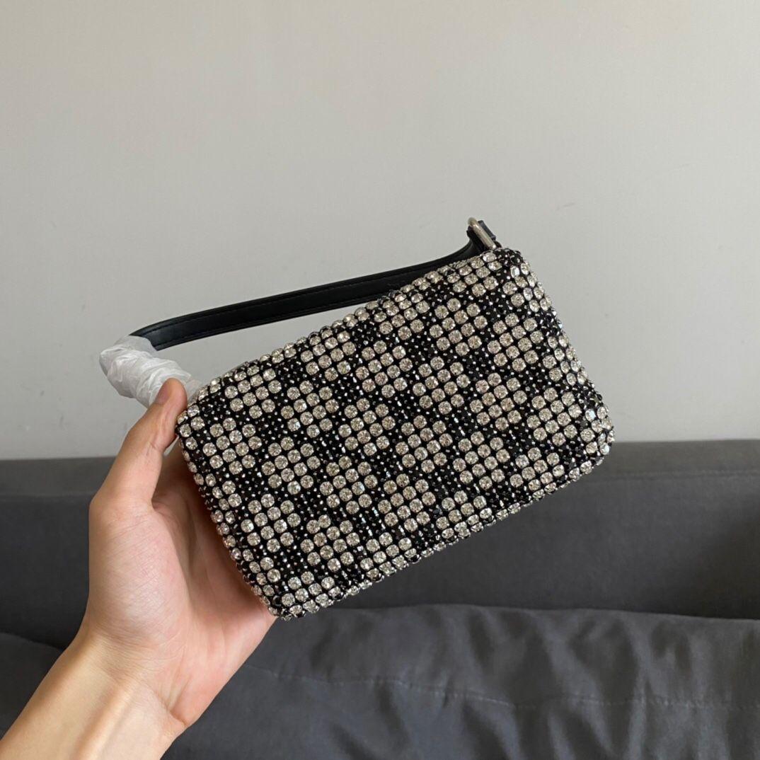 2021 أزياء المرأة فاخر مصممين الأكياس حجر الراين وانغ الراين الكامل وامض بلينغ الماس إبطال حقيبة يد اليد تحمل حقيبة مربع صغير مع مربع