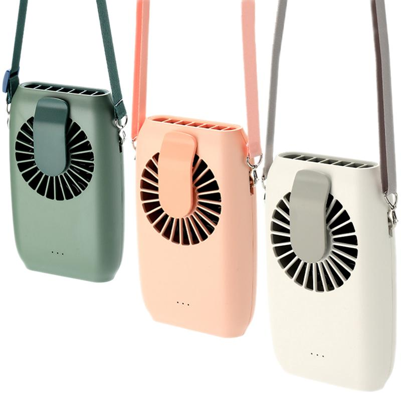 Small USB Gadgets Waist Hanging Electric Fan Neck Lanyard Wrist Desktop Air Blowing Cooler 2000mAh Emergency Power Bank 3 Gear Low Noise Handy Rechargeable Fans