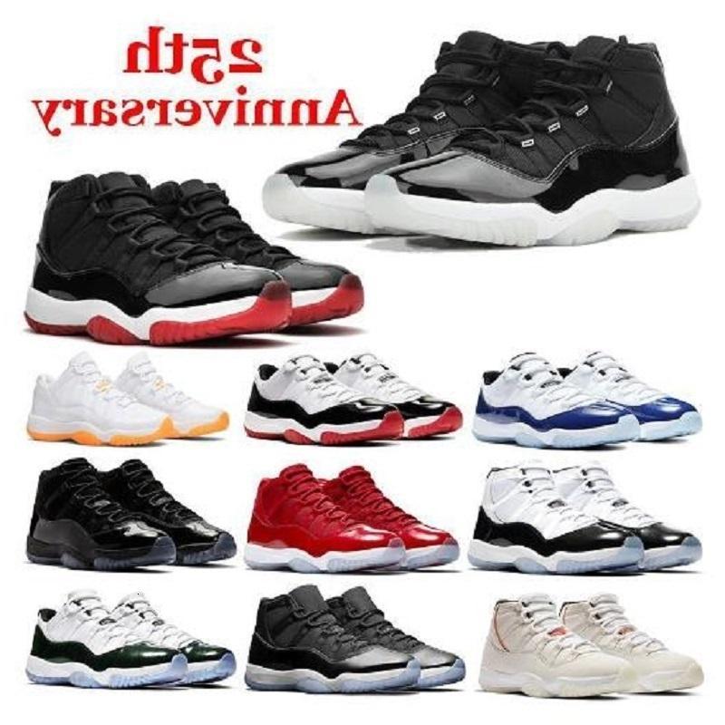 Jumpman 11 11s 25º Aniversário 45 Bred Men Sapatos de Basquete Preto Gato 4 13 Ginásio Legenda Ginásio Vermelho Gama Esportes Sneakers3H2V
