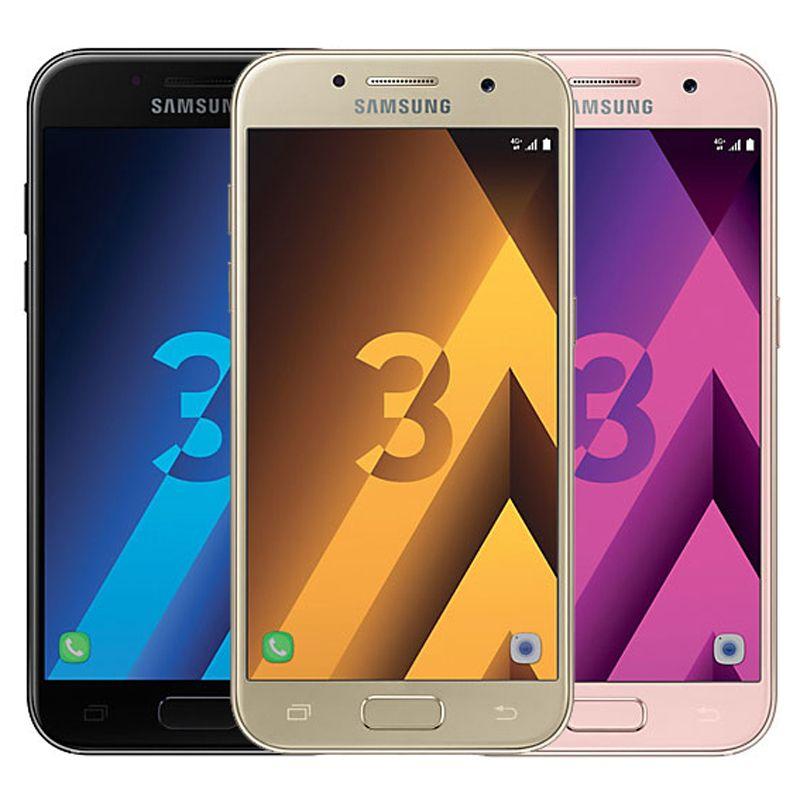 الأصلي تم تجديده Samsung Galaxy A3 2017 A320F واحدة SIM 4.7 بوصة أكتوا الأساسية 2 جيجابايت رام 16 جيجابايت rom 13mp 4 جرام lte الروبوت الهاتف الخليوي الذكية dhl 30pcs