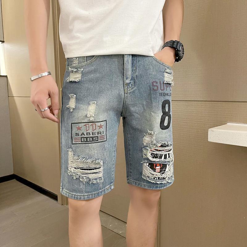 Los pantalones vaqueros de los hombres se rasgaron los pantalones cortos de la pierna ancha delgados de gran tamaño de una marca de moda hiphop letras impresas sueltas denim 5-cuarto pantalones Streetwear