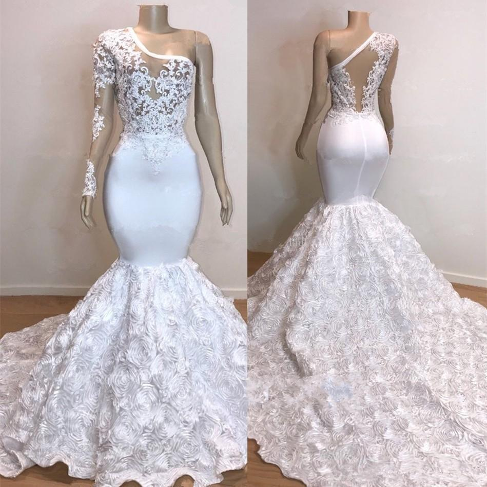Plus Size Mermaid Evening Dress One Shoulder Appliqued Lace Marriage Prom Dresses Chic Formal Party Gowns Rose Robe de mariée