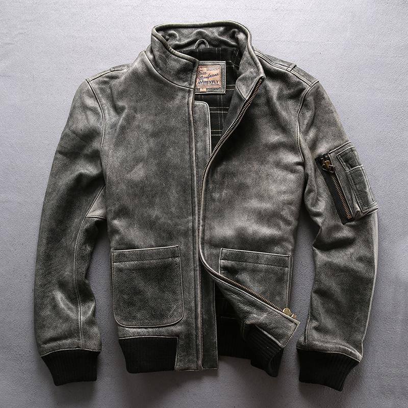 Herren Leder Faux Grau Avirexfly Echte Cowkin Motorrad Herren Casual Vintage Cowhide Jacke