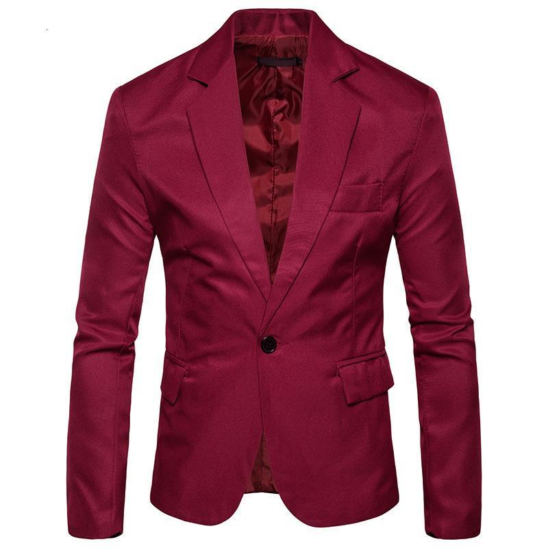 Traje casual para hombres 1 botón delgado de color sólido con volumen de volumen Blazer 8 colores disponibles durante mucho tiempo