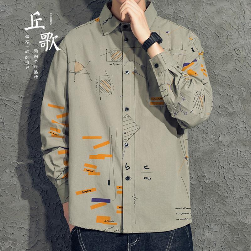 인쇄 셔츠 남성 긴 소매 고품질 잘 생긴 트렌드 패션 캐주얼 플로랄 탑 화학 homme 남자 의류 BC50CS 셔츠