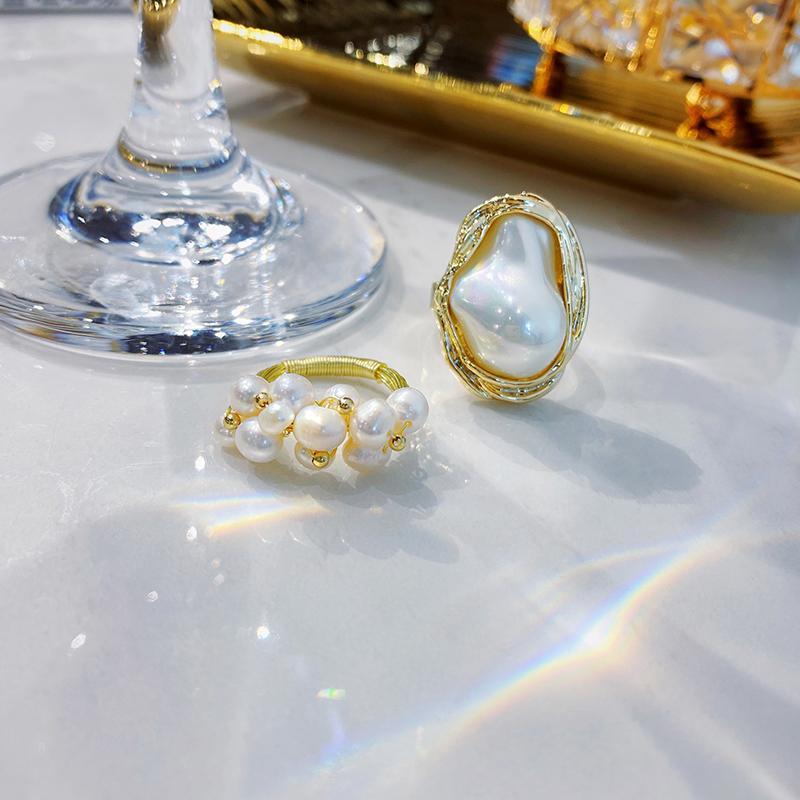 2021 Elementos geométricos góticos de barroco Anillos de apertura de la perla para mujer moda joyería coreana boda fiesta de lujo chicas de lujo