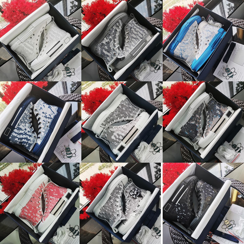 햄페스 B23 최신 화이트 저위상 신발 투명 인쇄 럭셔리 숙 녀 하이 탑 스니커즈 캔버스 남성과 여성 패션 캐주얼 신발 크기 : 36-45