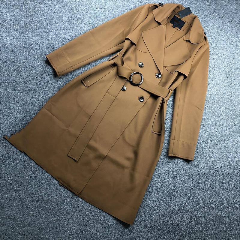 Роскошные элегантные женщины траншеи мода мода мягкая сенсорная леди длинное пальто зима осень ветрозащитный дизайнер женская ветровка