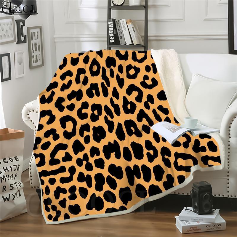 Cloocl Coberturas Leopardo Padrão 3D Imprimir Estilo Casual Ar Condicionado Sofá Viagem Throw Throw Cobertor Adolescentes Quilt de Pelúcia