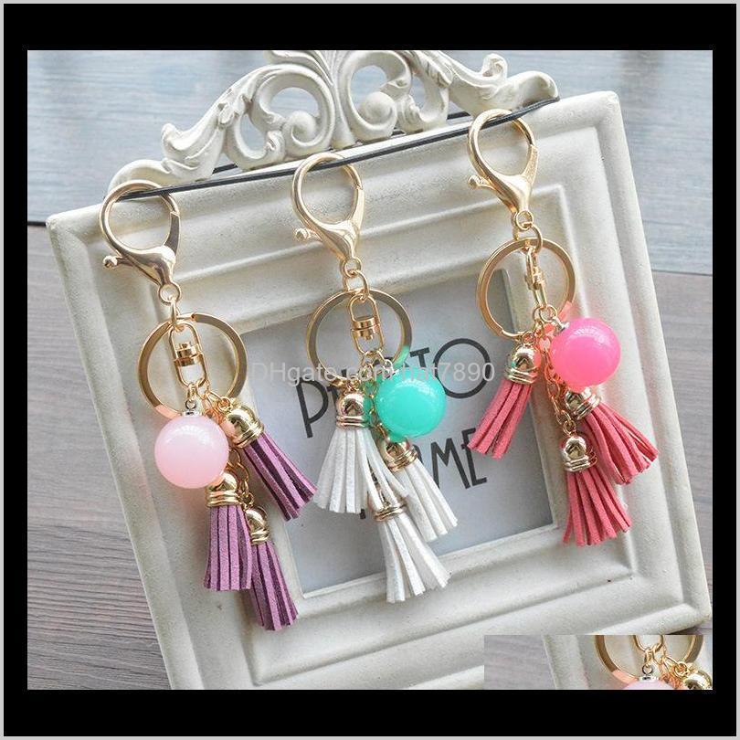 الحلي الأزياء الديبية كيمتر الحلوى الإبداعية سحر المفاتيح اللون الاكريليك الخرز الشرابة مفتاح الدائري حقيبة مجوهرات سيارة Keyfobs قلادة ايسوري