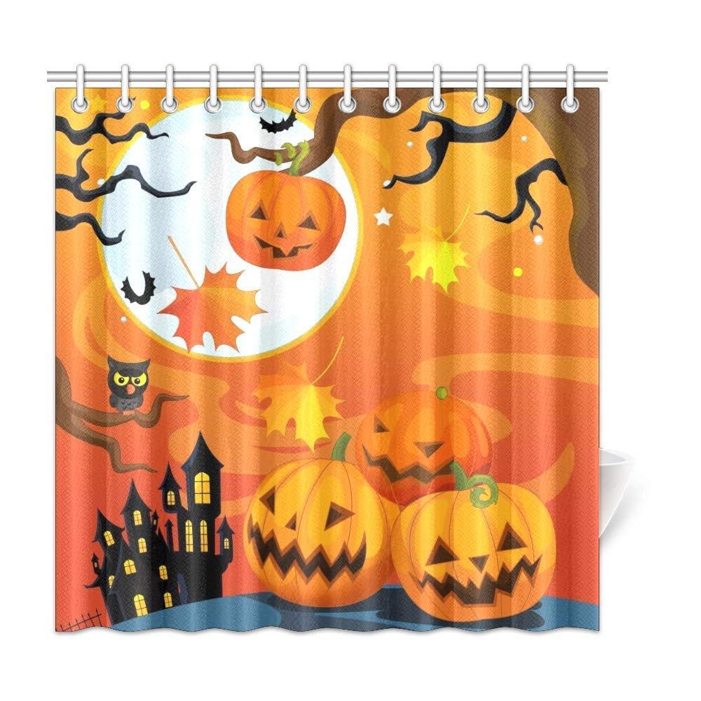 Xiucoo Cartoon Halloween PumpkkinHome Decoração Decoração de Poliéster Curtain Curtain Curtain Sets 72 x 72 Polegadas