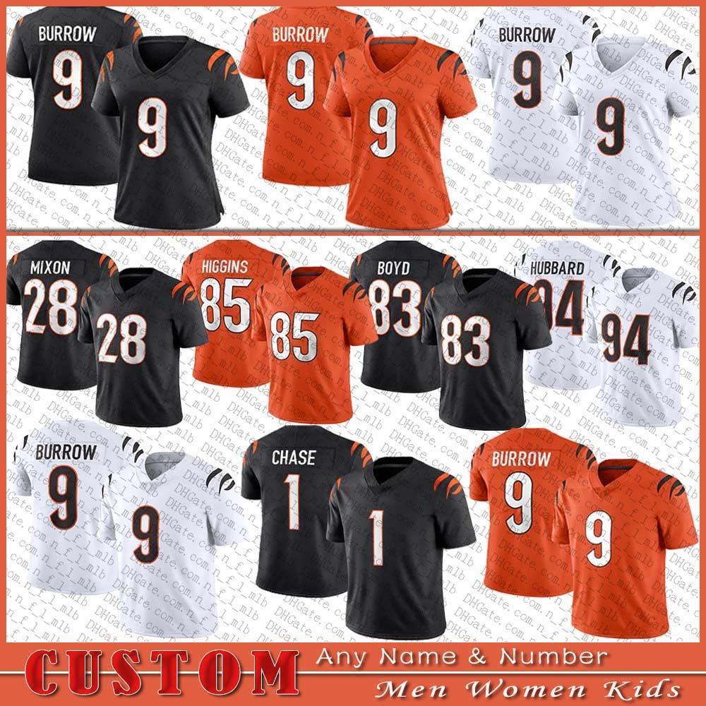 9 Joe Burrow Burreaux 1 Jamarr Chase Football Jersey 28 Mixon 85 Tee Higgins 30 Jessie Bates III 94 Sam Hubbard 83 Tyler Boyd Cusic Cincinnati벵골남자 여자 아이