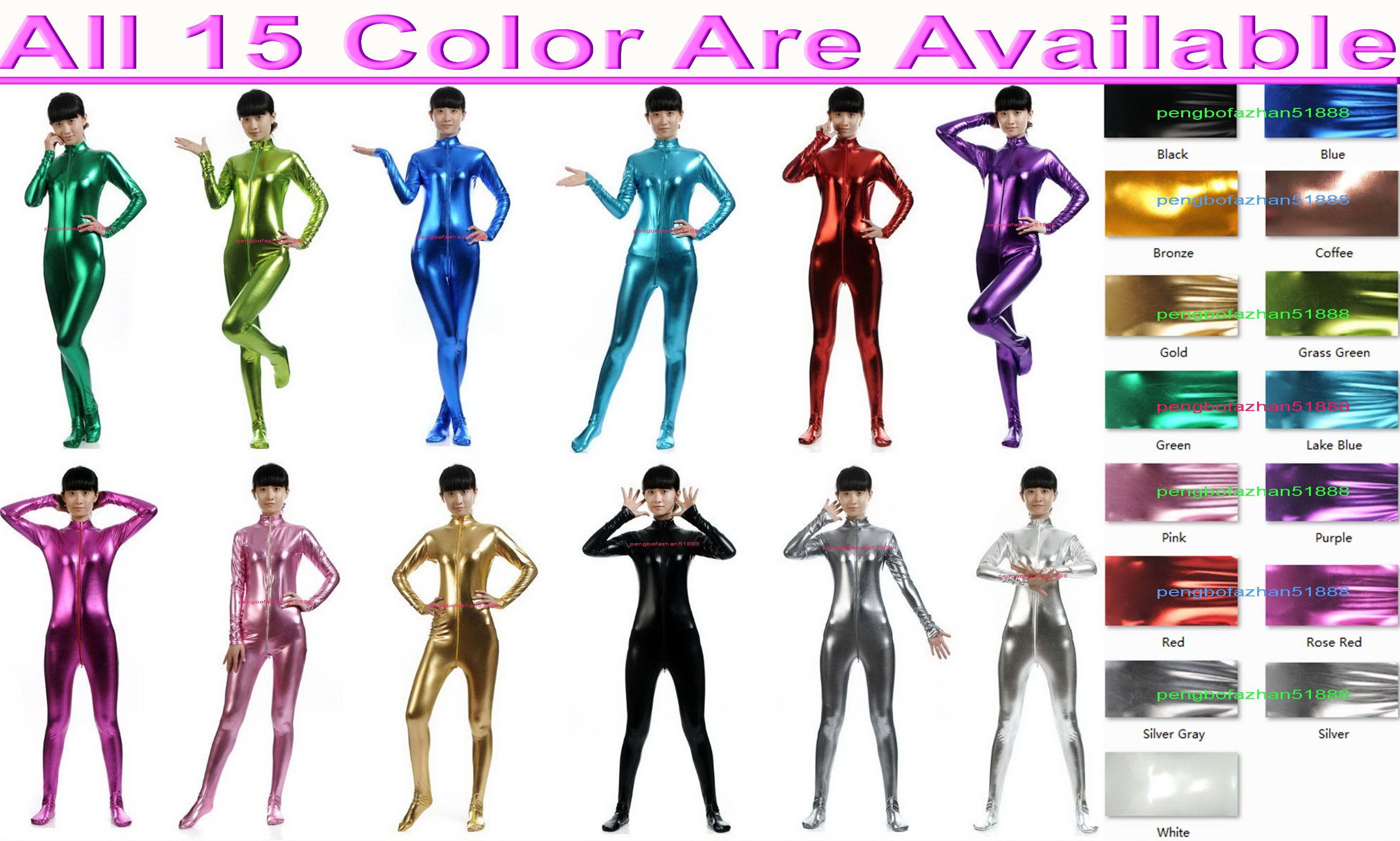 15 farbe glänzend lycra metallic frauen catsuit kostüm vorne langen reißverschluss sexy frauen body anzug kostüme kein kopf / hand halloween party fantastische kleid cosplay bodysuit p007