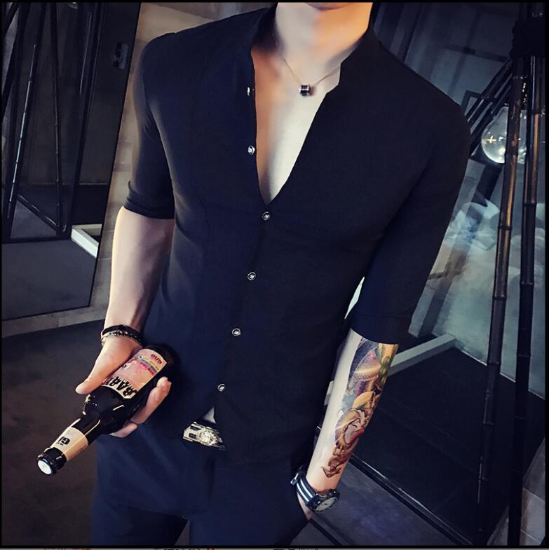 Casacos dos homens Homens Camisas Carrinho Camisa Chinesa Estilo Camisa Slim Fit Korea Roupas Meia Manga 2021 Verão Designer Club Soild