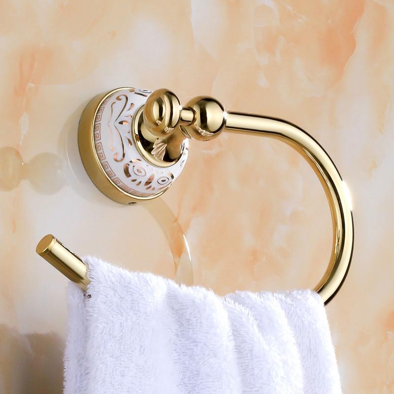 골동품 세련된 수건 반지 세라믹베이스 골드 도금 매달려 랙 욕실 홀더 액세서리 제품 링