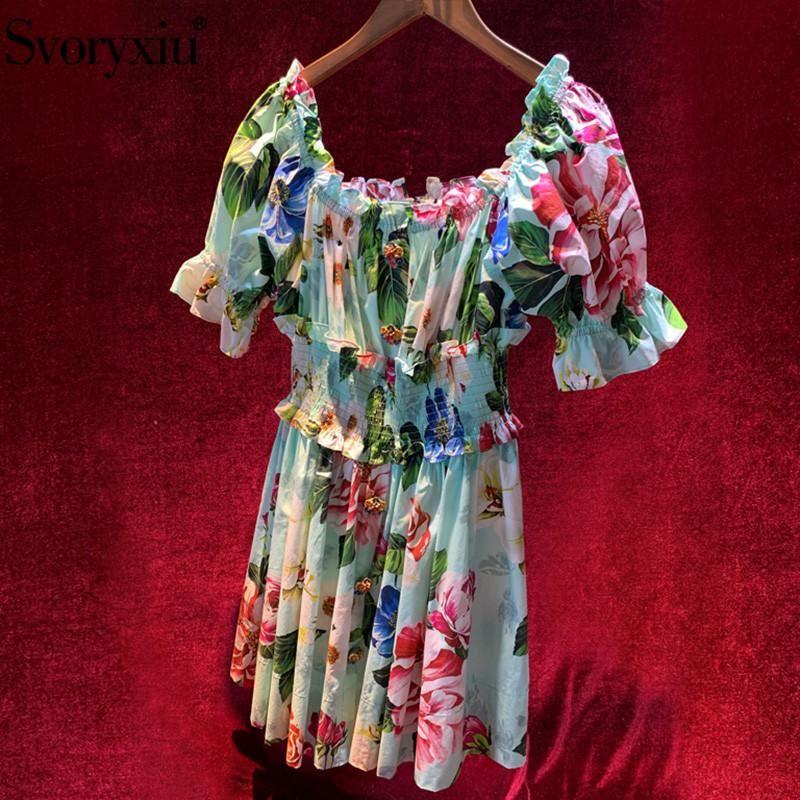 SVORYXIU Seksi Kapalı Omuz Yaz Tatil Elbise kadın Elastik Bel Özel Düğme Mavi Çiçek Baskı Pist Pamuk Kısa Günlük Elbiseler