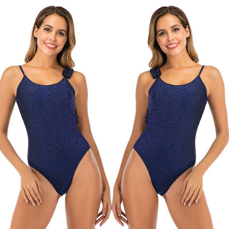 Mulheres Sexy Um Peça Bikini Irregular Ombro Correias Ruffles Monokini Brilhante Cor Sólida Low Cut Backless Swimsuit One-peça Suits
