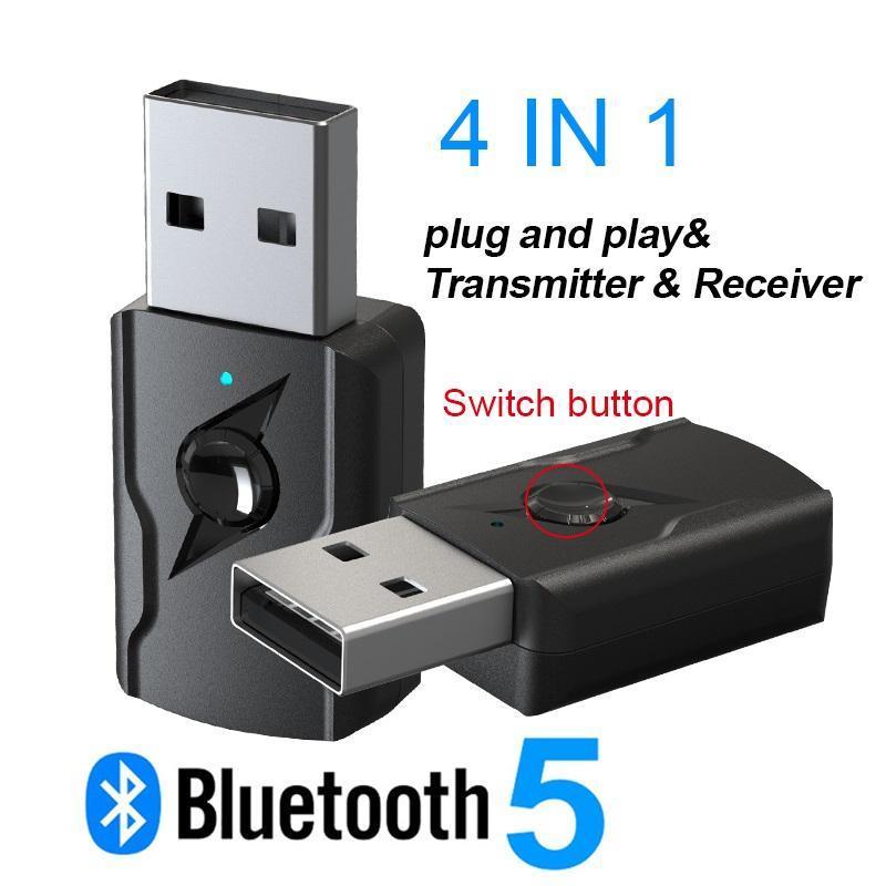 Top 4 em 1 USB Bluetooth 5.0 Receptor Transmissor Sem Fio 3.5mm Aux O Adaptador para Alto-falante TV Pc Car Kit MP3 MP4 Players