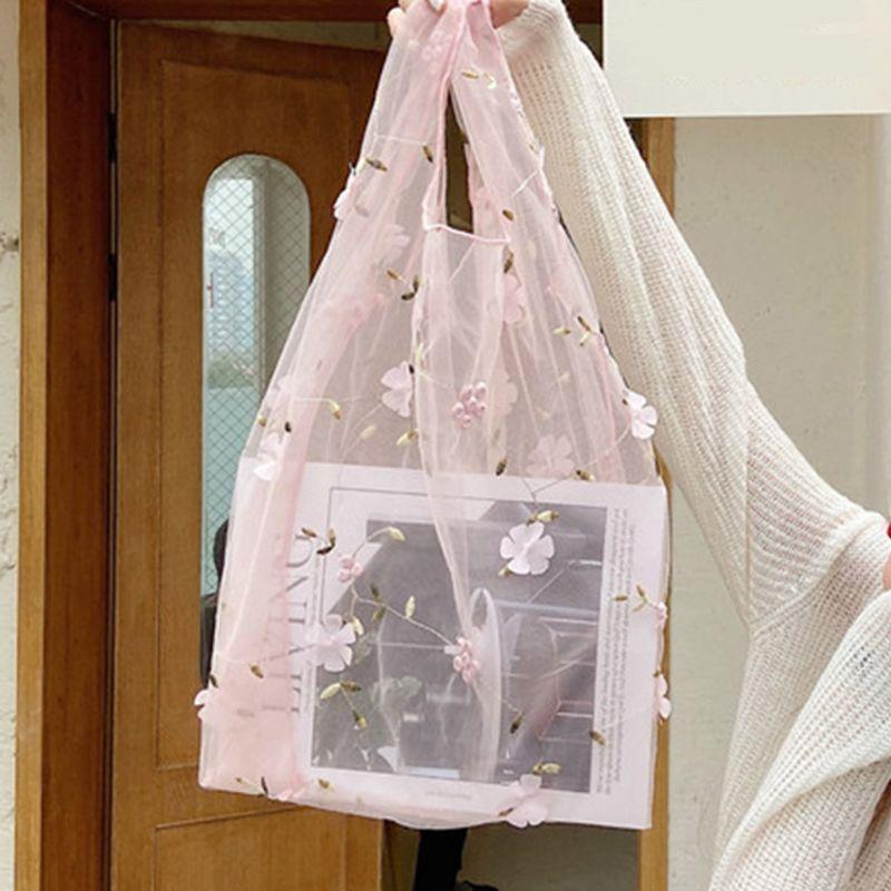 재사용 가능한 꽃 자수 메쉬 천 쇼핑 가방 어깨 주머니 식료품 가방 X7XC