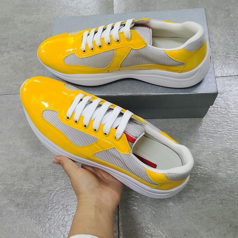 America's Cup Bike Sneakers Sneakers Giallo Scarpe in pelle verniciata Giallo Scarpe piatte Gomma Trim Designer Sneaker Mesh Lace-Up Nylon Casual con scatola