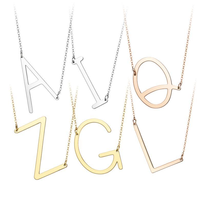 패션 새로운 스테인레스 스틸 A-Z 영어 편지 목걸이 실버 골드 도금 자본 알파벳 초기 펜던트 목걸이 여성 쥬얼리 선물