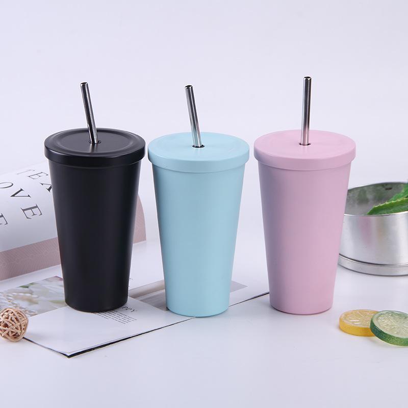 Bouteilles d'eau 500ml Creative Creative Macaron Couleur Coffee Coffret à café 304 Acier inoxydable Portable Double Couble Boys et Filles Coupes de lait