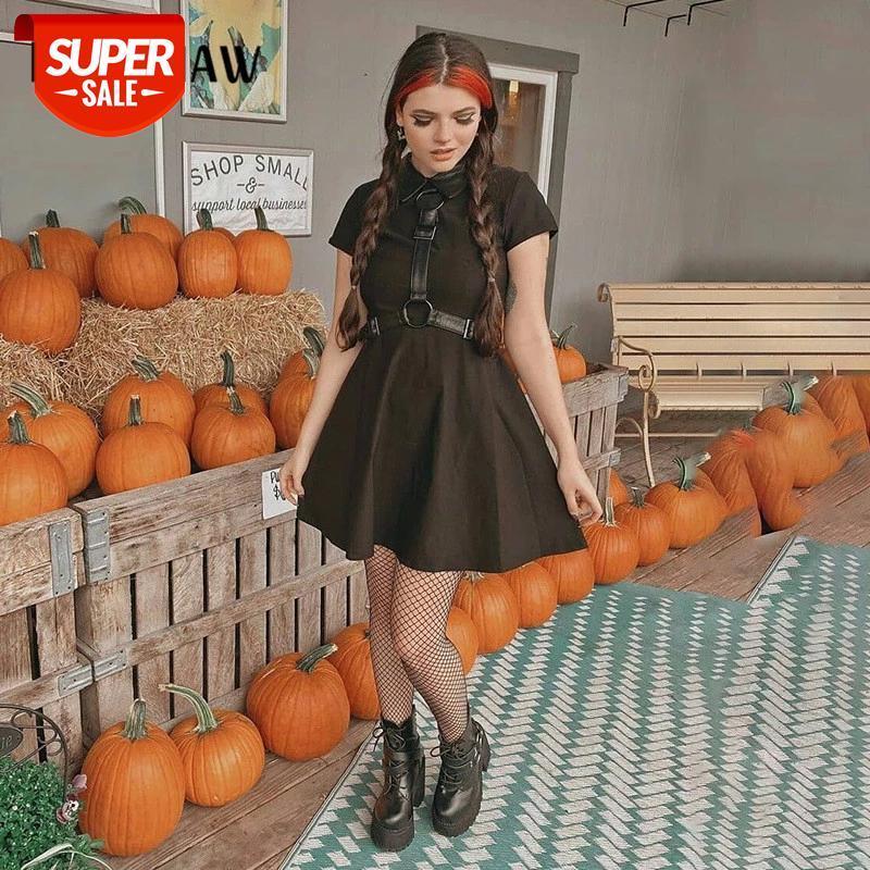 Mulheres moda verão manga curta preto gótico punk bodycon magro mini vestido curto 2021 roupas femininas streetwear # 0j4u