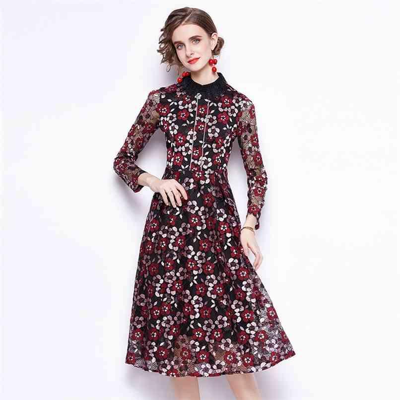 Moda pista de verão vestido mulheres manga comprida flor bordado laço vintage es senhoras midi vestido 210521