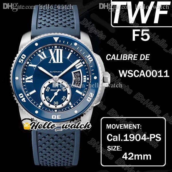 TWF F5 Calibre de Dive Wsca0011 Cal.1904-PS Mc Mc Mend Automatique Montre Supérieur Lunette Céramique Bezel Roman Mark Blue Dial Montres en caoutchouc Hello_Watch