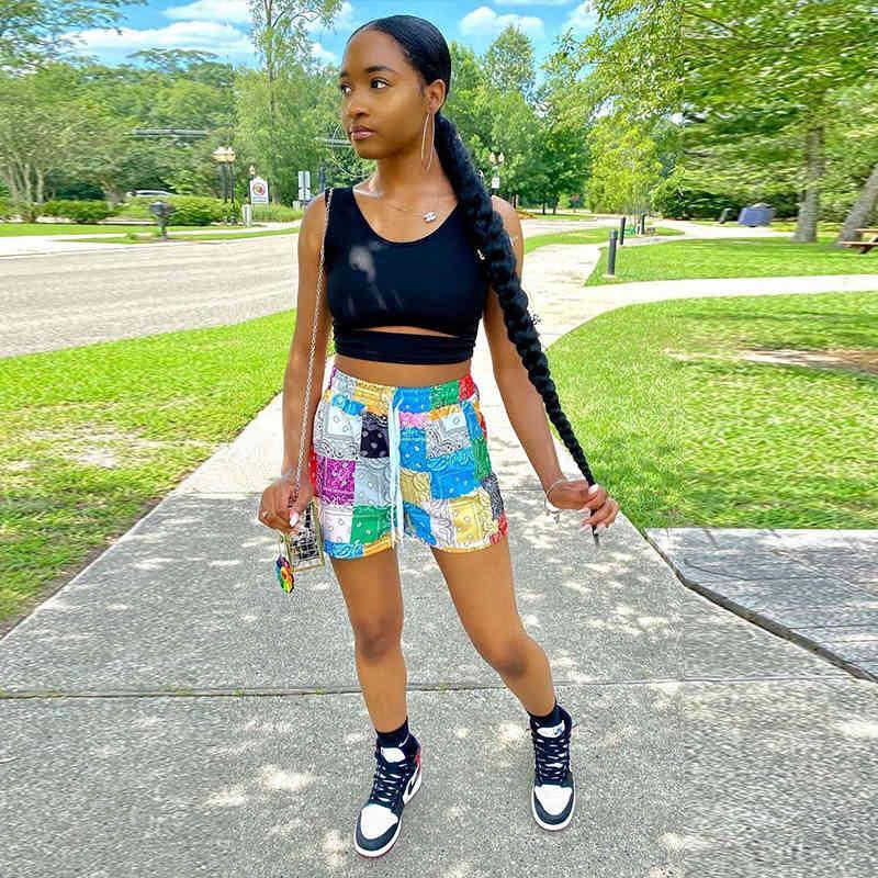 TNNAOff Plus Size Bandana Patchwork Shorts für Frauen Sommer Kleidung Mode Strand Tragen Lace Up Lose Lässige Badeanzug Shorts X0320