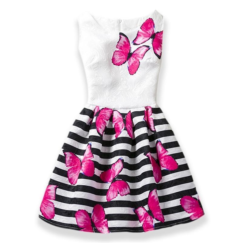 s verão meninas vestido borboleta floral print princesa adolescentes vestido para meninas festa crianças crianças vestido vestido 6-12Y 210319