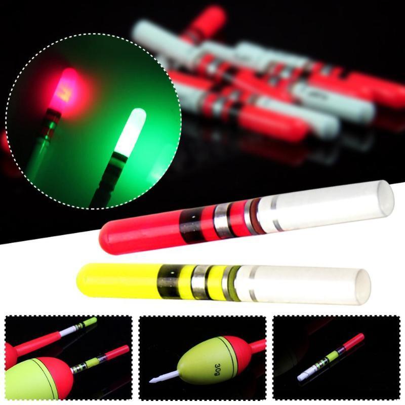 10 шт. Светлые палочки Зеленые / красные работы с батареей CR322 с батареей CR322 Светодиодный светлый светлый поплавковый ночной рыболовный снасти