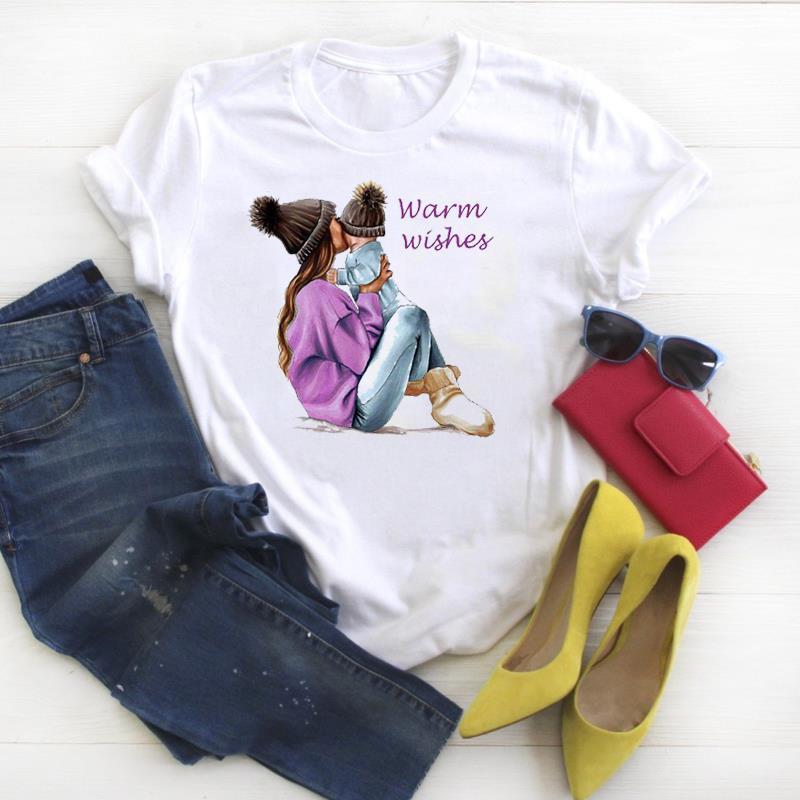 Ropa Mamá Madre Madre Mujeres Tops Moda Gráfico Impreso Tee Kawaii
